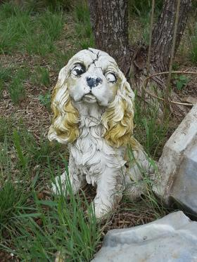Very disturbing cracked plaster dog in my mom's backyard.